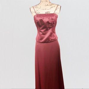 David's Bridal Women's Two-Piece Dress Burgundy